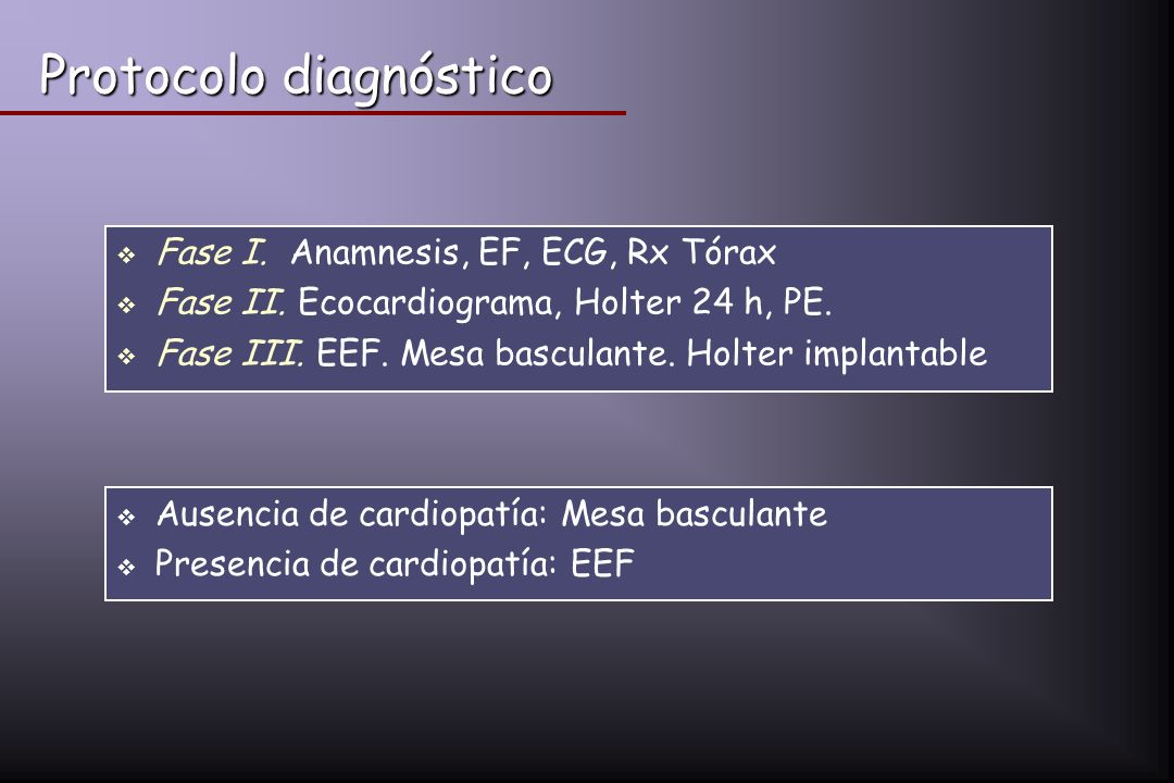 Protocolo diagnóstico Fase I. Anamnesis, EF, ECG, Rx Tórax Fase II. Ecocardiograma, Holter 24 h, PE. Fase III. EEF. Mesa basculante. Holter implantabl