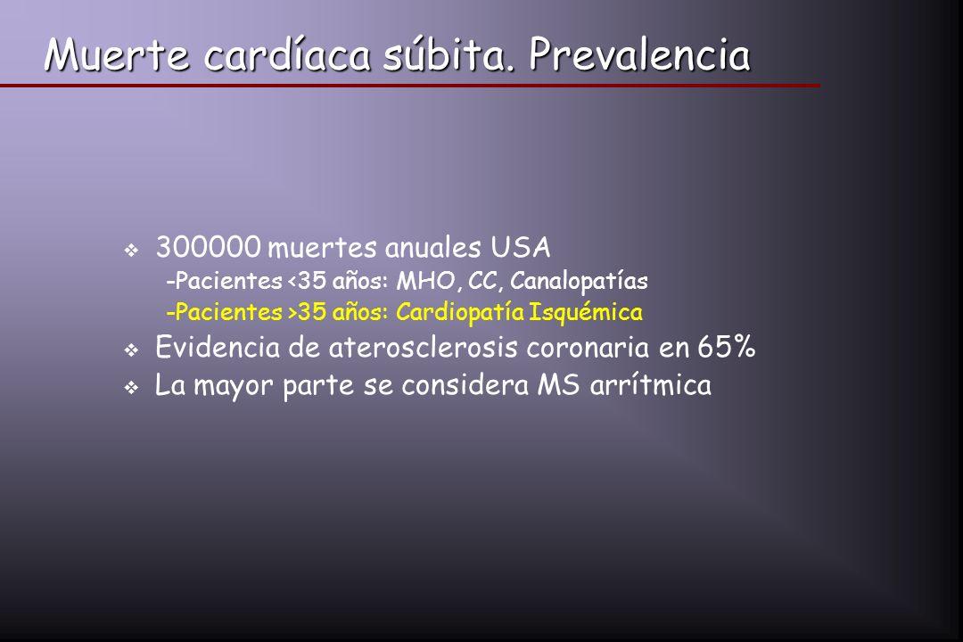 Muerte cardíaca súbita. Prevalencia 300000 muertes anuales USA -Pacientes <35 años: MHO, CC, Canalopatías -Pacientes >35 años: Cardiopatía Isquémica E