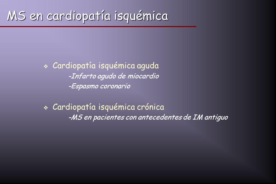 MS en cardiopatía isquémica Cardiopatía isquémica aguda -Infarto agudo de miocardio -Espasmo coronario Cardiopatía isquémica crónica -MS en pacientes