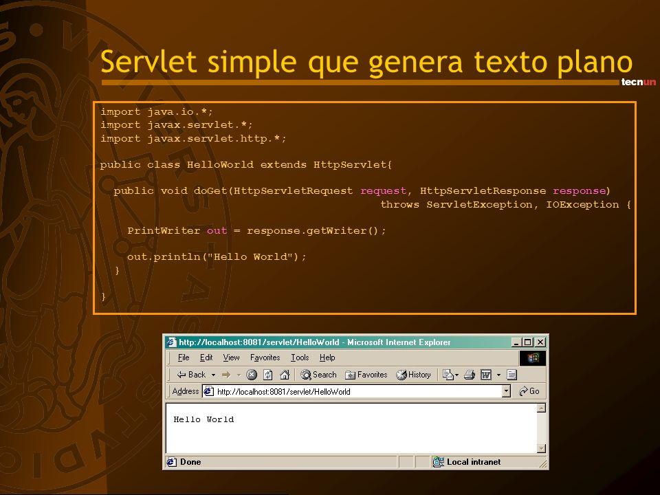 Servlet simple que genera texto plano import java.io.*; import javax.servlet.*; import javax.servlet.http.*; public class HelloWorld extends HttpServl