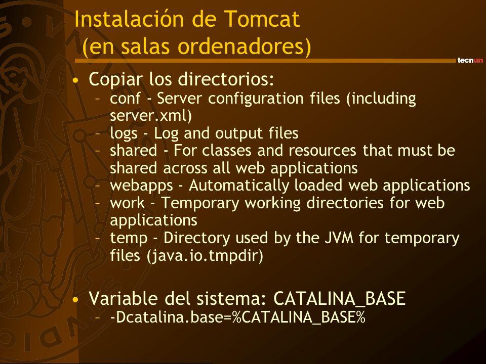 Instalación de Tomcat (en salas ordenadores) Copiar los directorios: –conf - Server configuration files (including server.xml) –logs - Log and output