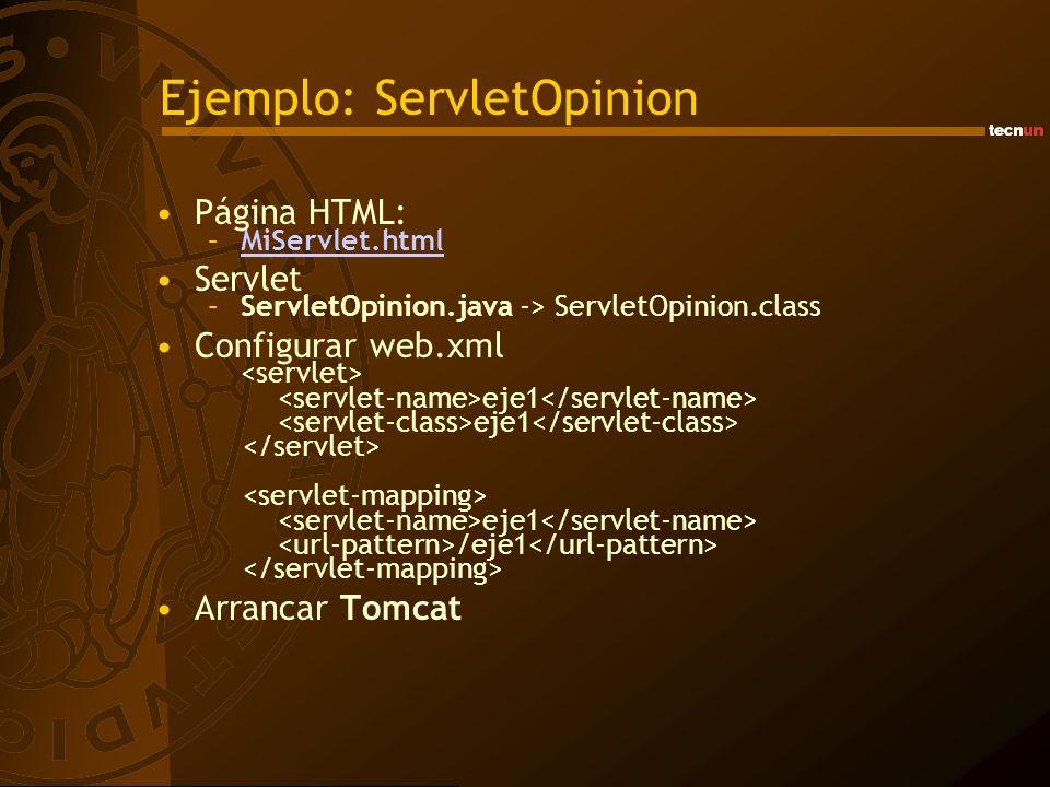 Ejemplo: ServletOpinion Página HTML: –MiServlet.htmlMiServlet.html Servlet –ServletOpinion.java -> ServletOpinion.class Configurar web.xml eje1 eje1 /