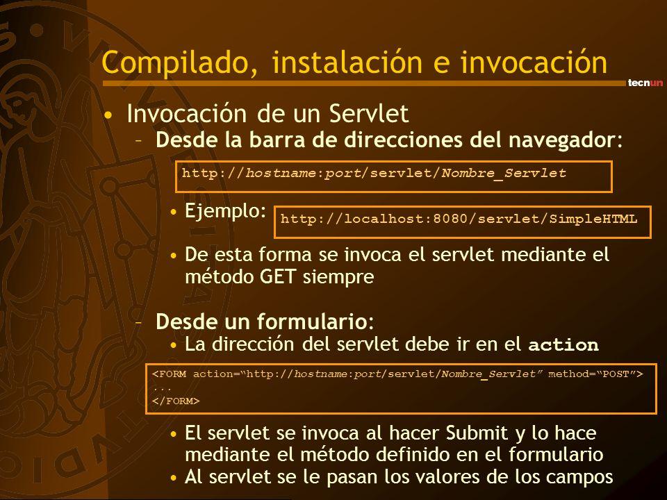 Compilado, instalación e invocación Invocación de un Servlet –Desde la barra de direcciones del navegador: Ejemplo: De esta forma se invoca el servlet