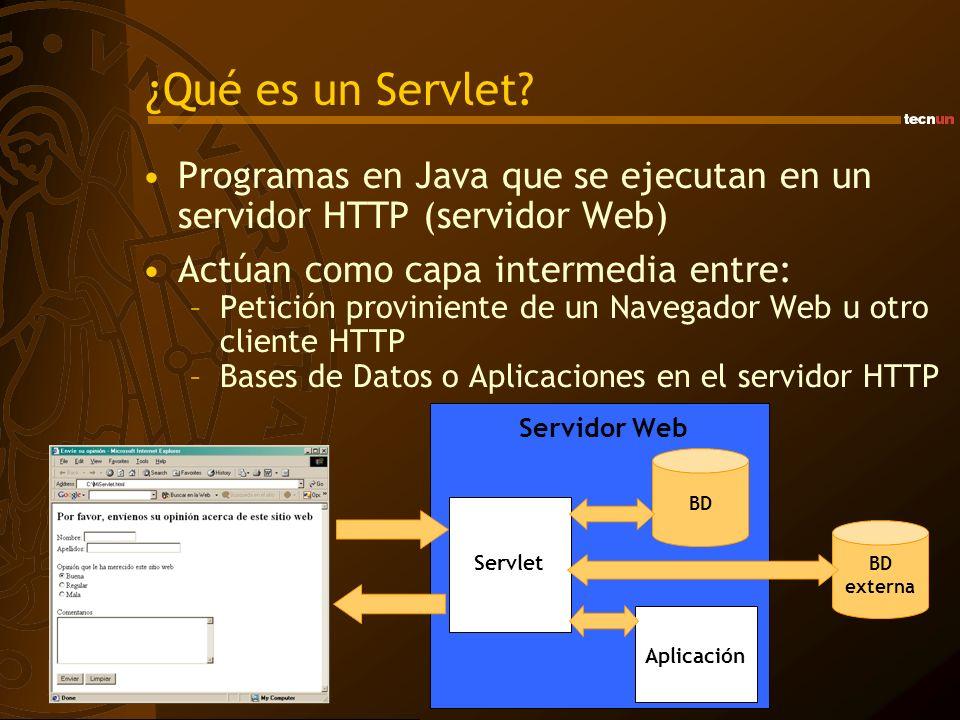 ¿Qué es un Servlet? Programas en Java que se ejecutan en un servidor HTTP (servidor Web) Actúan como capa intermedia entre: –Petición proviniente de u