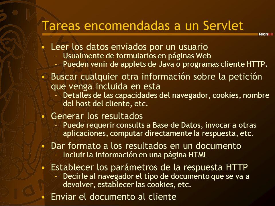 Compilado, instalación e invocación Invocación de un Servlet –Desde la barra de direcciones del navegador: Ejemplo: De esta forma se invoca el servlet mediante el método GET siempre –Desde un formulario: La dirección del servlet debe ir en el action El servlet se invoca al hacer Submit y lo hace mediante el método definido en el formulario Al servlet se le pasan los valores de los campos http://hostname:port/context/Nombre_Servlet http://localhost:8080/servlet/SimpleHTML...