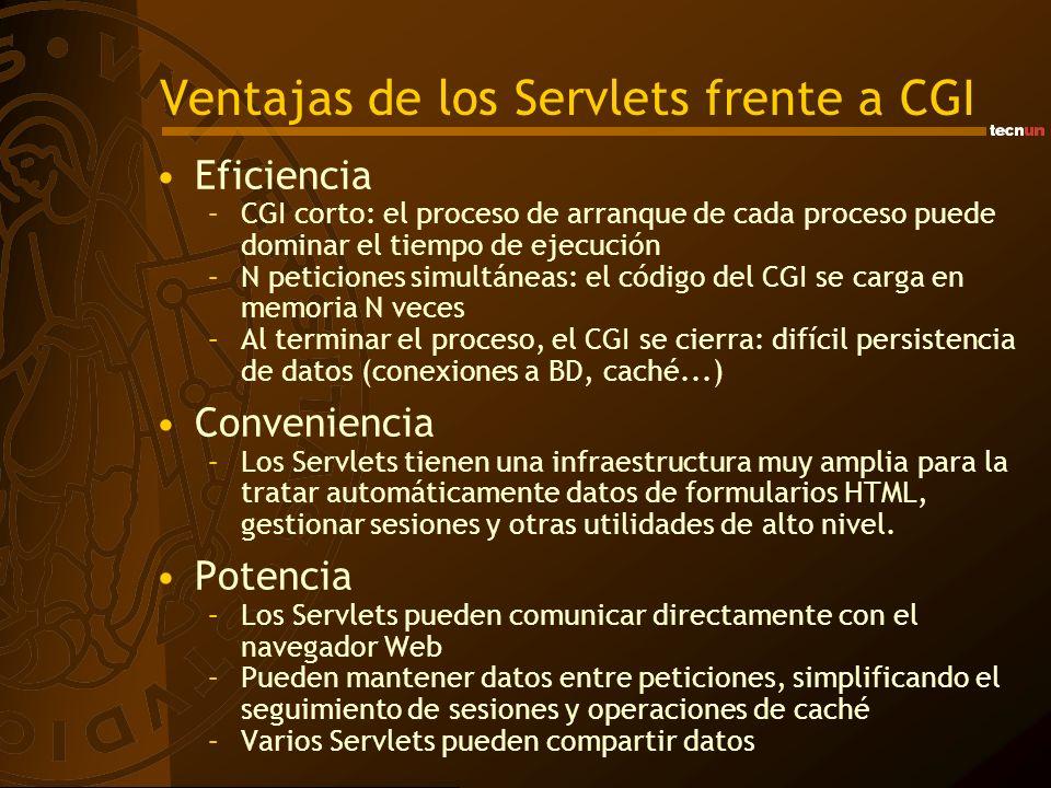 Ventajas de los Servlets frente a CGI Portabilidad –Los Servlets están escritos en Java y siguen una API estándar.