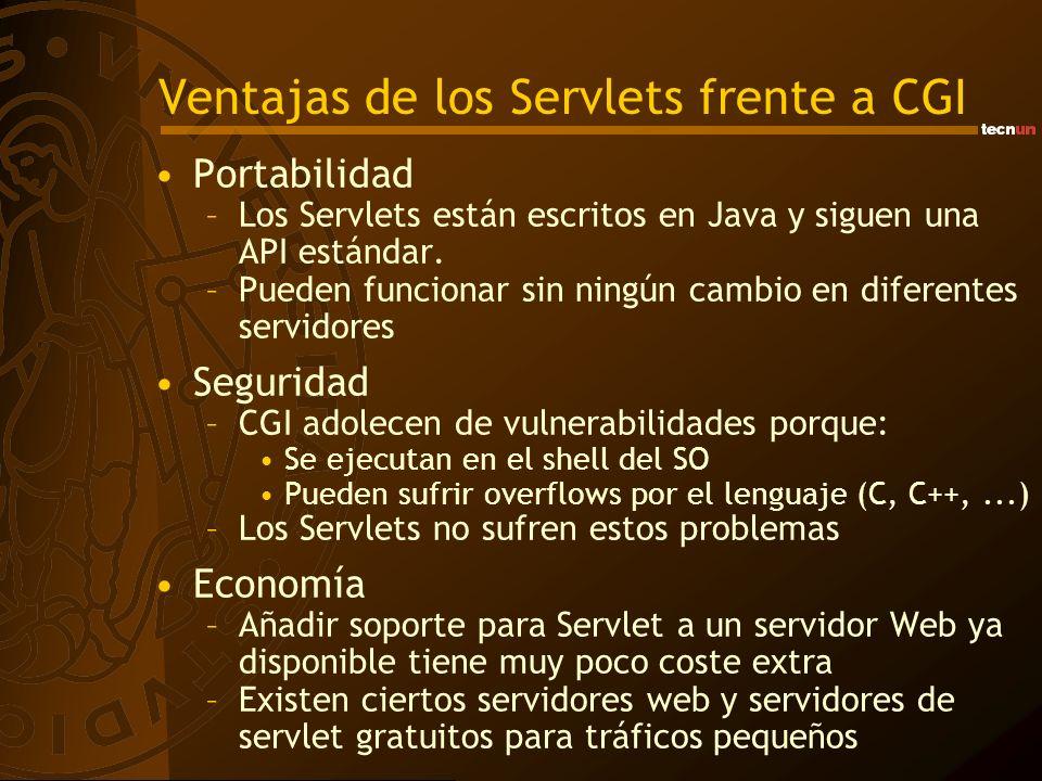 Ventajas de los Servlets frente a CGI Portabilidad –Los Servlets están escritos en Java y siguen una API estándar. –Pueden funcionar sin ningún cambio