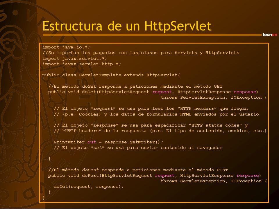 Estructura de un HttpServlet import java.io.*; //Se importan los paquetes con las clases para Servlets y HttpServlets import javax.servlet.*; import j