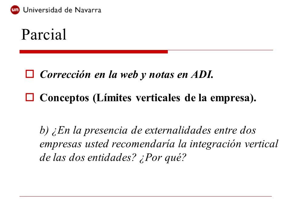 Parcial Corrección en la web y notas en ADI. Conceptos (Límites verticales de la empresa). b) ¿En la presencia de externalidades entre dos empresas us