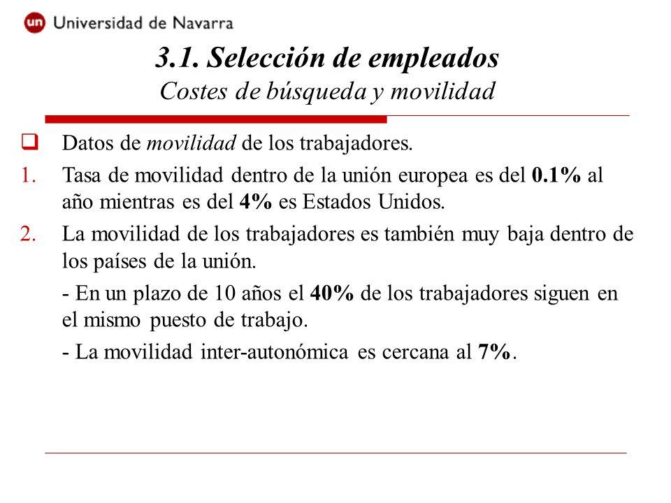 Datos de movilidad de los trabajadores. 1.Tasa de movilidad dentro de la unión europea es del 0.1% al año mientras es del 4% es Estados Unidos. 2.La m