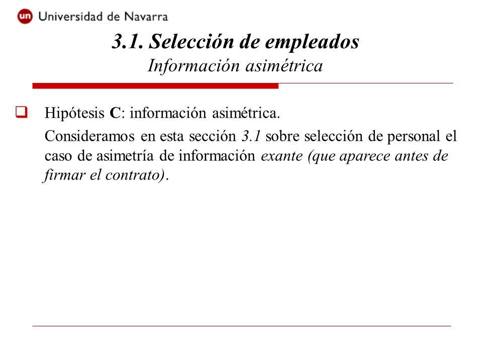 Hipótesis C: información asimétrica. Consideramos en esta sección 3.1 sobre selección de personal el caso de asimetría de información exante (que apar