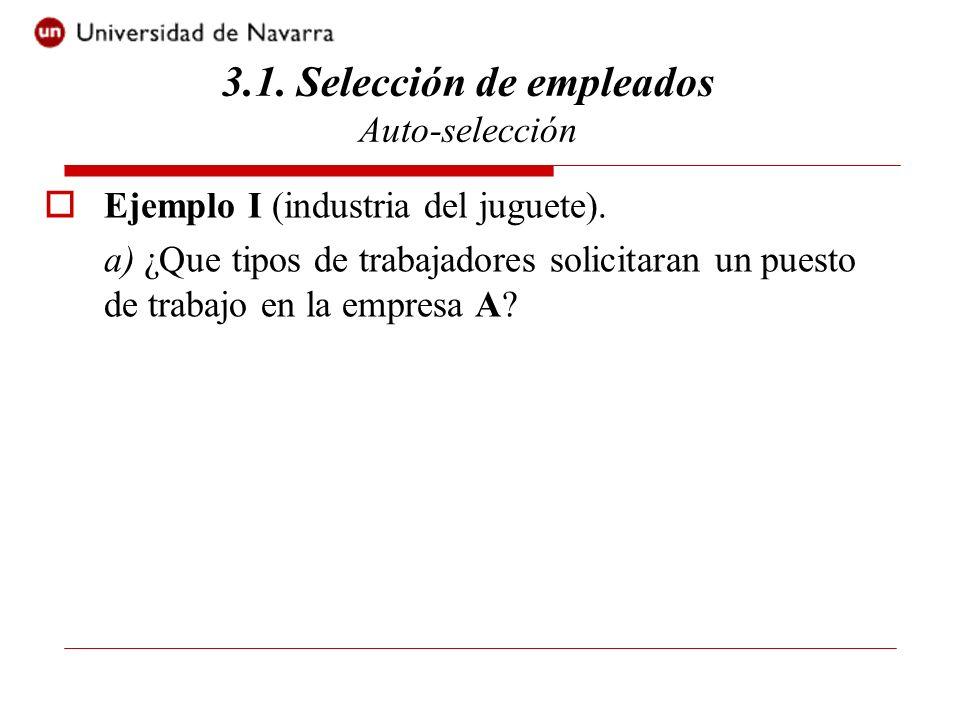 Ejemplo I (industria del juguete). a) ¿Que tipos de trabajadores solicitaran un puesto de trabajo en la empresa A? 3.1. Selección de empleados Auto-se