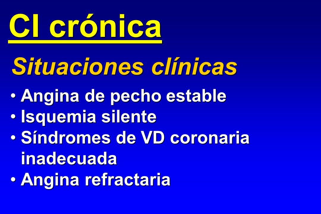 CI crónica Angina de pecho estableAngina de pecho estable Isquemia silenteIsquemia silente Síndromes de VD coronaria inadecuadaSíndromes de VD coronar