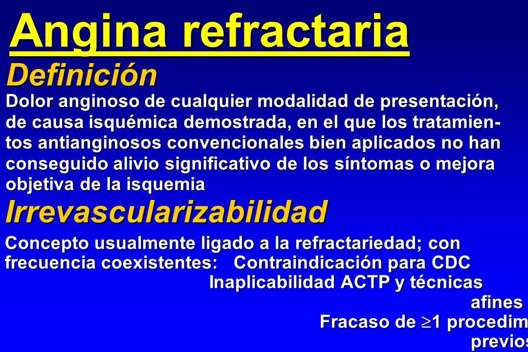 Angina refractaria Dolor anginoso de cualquier modalidad de presentación, de causa isquémica demostrada, en el que los tratamien- tos antianginosos co