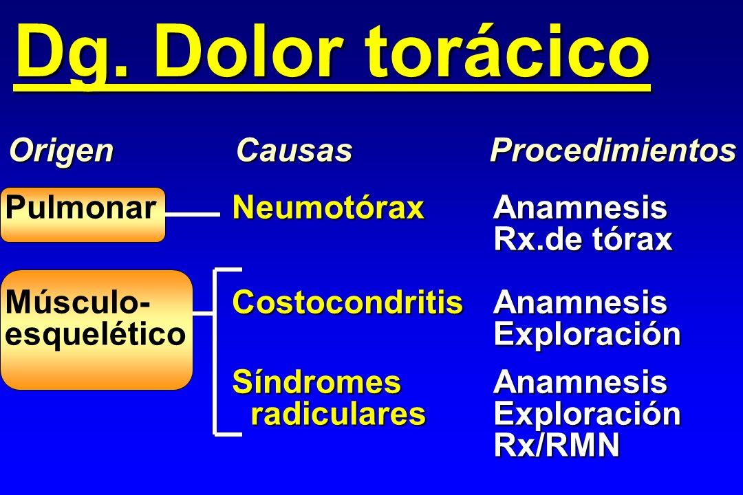 NeumotóraxAnamnesis PulmonarNeumotóraxAnamnesis Rx.de tórax CostocondritisAnamnesis Músculo-CostocondritisAnamnesis Exploración esqueléticoExploración