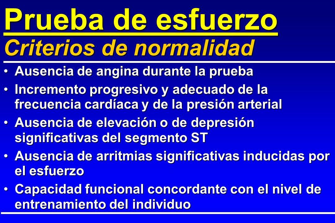 Prueba de esfuerzo Ausencia de angina durante la pruebaAusencia de angina durante la prueba Incremento progresivo y adecuado de la frecuencia cardíaca