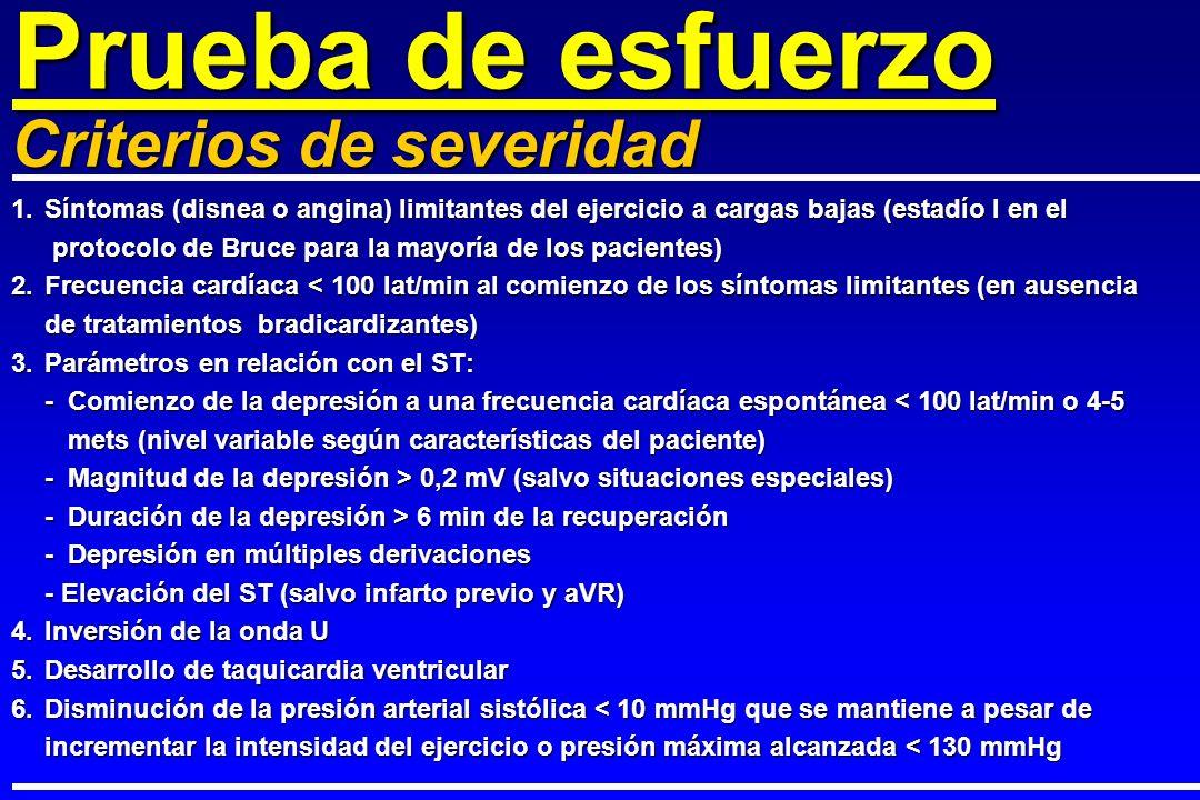 1.Síntomas (disnea o angina) limitantes del ejercicio a cargas bajas (estadío I en el protocolo de Bruce para la mayoría de los pacientes) protocolo d