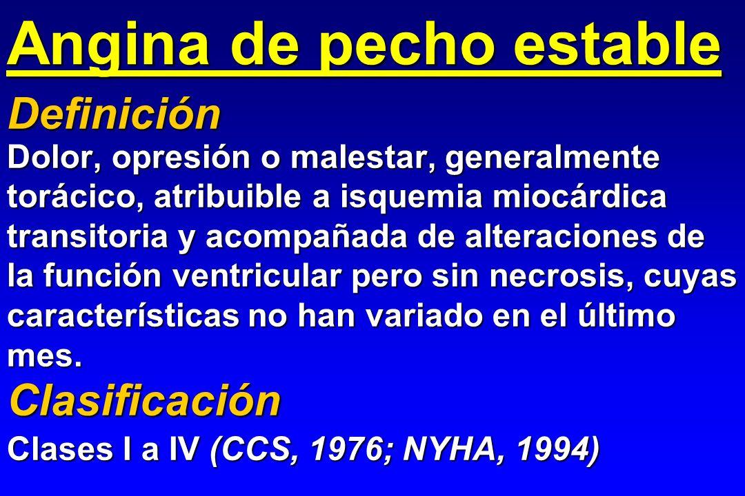 Angina de pecho estable Dolor, opresión o malestar, generalmente torácico, atribuible a isquemia miocárdica transitoria y acompañada de alteraciones d