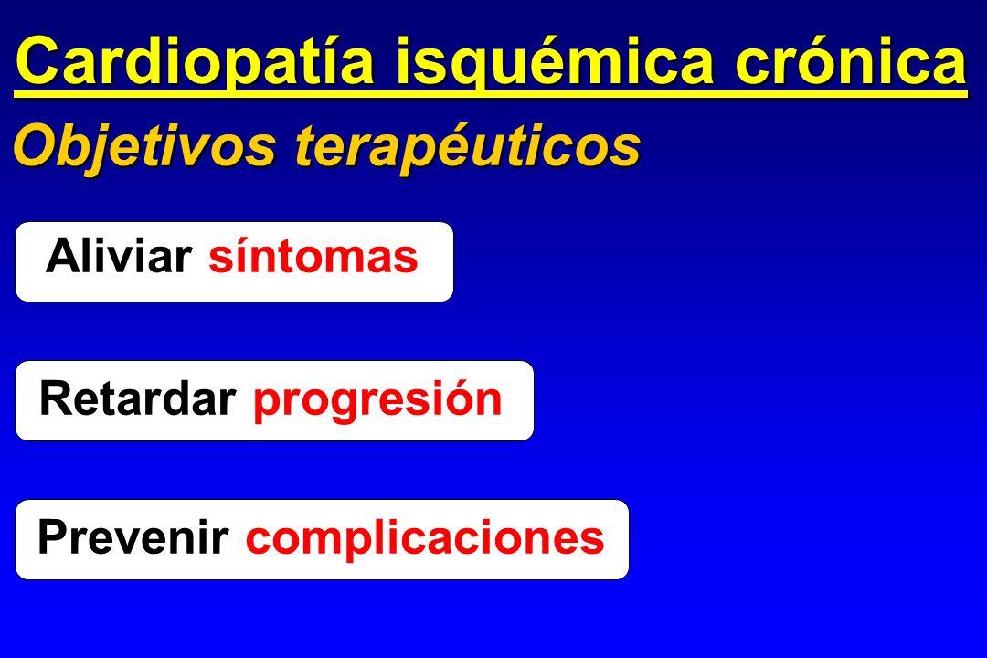 Cardiopatía isquémica crónica Objetivos terapéuticos Aliviar síntomas Prevenir Prevenir complicaciones Retardar progresión