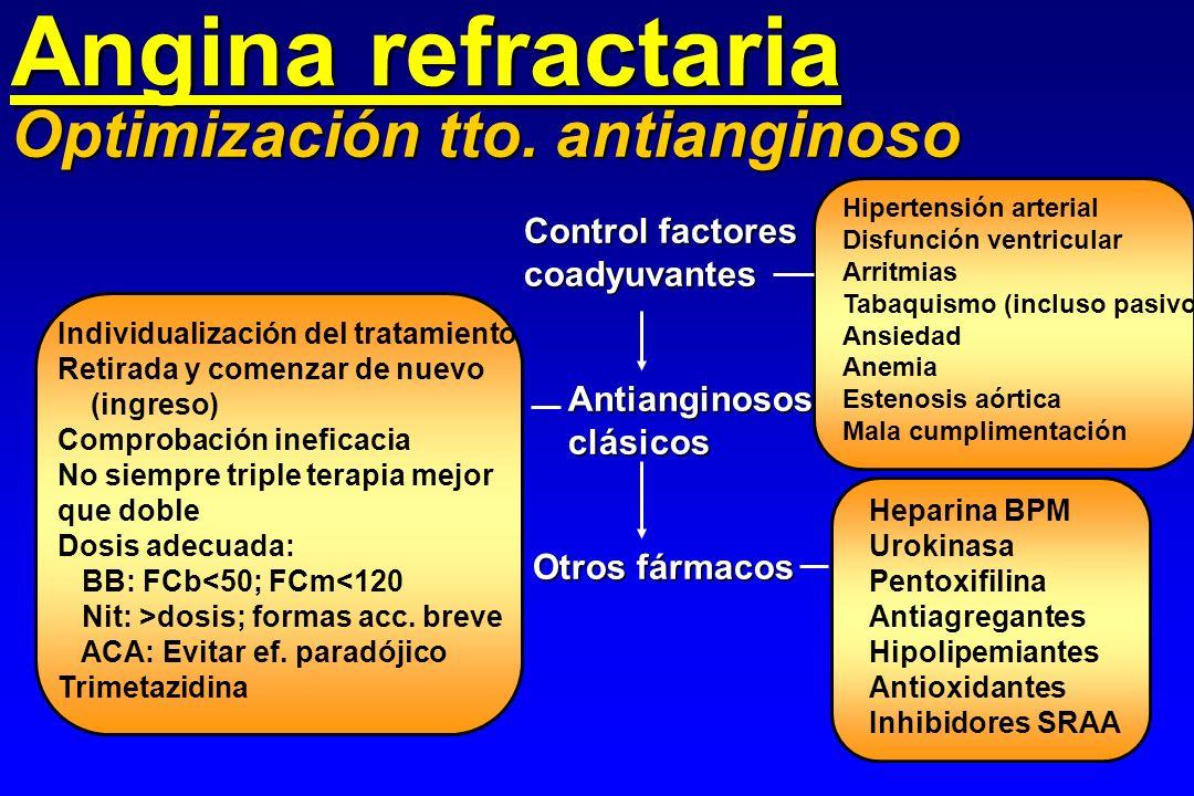 Angina refractaria Optimización tto. antianginoso Control factores coadyuvantes Hipertensión arterial Disfunción ventricular Arritmias Tabaquismo (inc