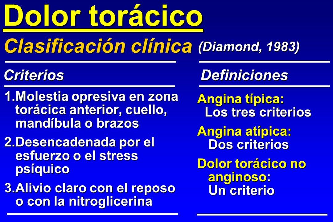 Dolor torácico 1.Molestia opresiva en zona torácica anterior, cuello, mandíbula o brazos 2.Desencadenada por el esfuerzo o el stress psíquico 3.Alivio