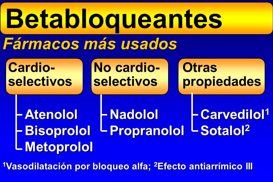 Fármacos más usados Cardio- selectivos AtenololBisoprololMetoprolol No cardio- selectivos Otras propiedades NadololPropranolol Carvedilol 1 Sotalol 2