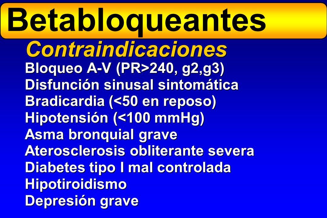 Bloqueo A-V (PR>240, g2,g3) Disfunción sinusal sintomática Bradicardia (<50 en reposo) Hipotensión (<100 mmHg) Asma bronquial grave Aterosclerosis obl