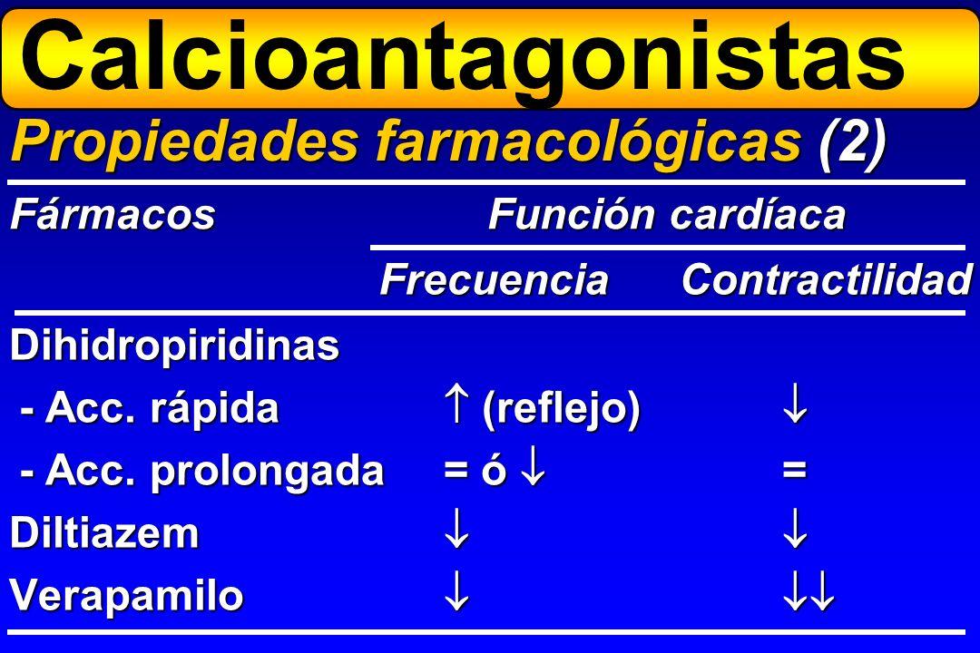 Dihidropiridinas - Acc. rápida (reflejo) - Acc. rápida (reflejo) - Acc. prolongada= ó = Diltiazem Verapamilo Propiedades farmacológicas (2) Fármacos F