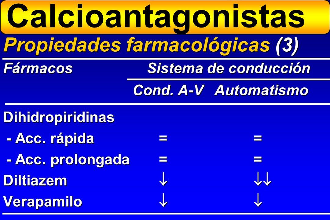 Dihidropiridinas - Acc. rápida== - Acc. prolongada== Diltiazem Verapamilo Propiedades farmacológicas (3) FármacosSistema de conducción Cond. A-V Autom