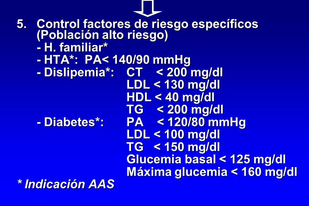 5.Control factores de riesgo específicos (Población alto riesgo) - H. familiar* - HTA*: PA< 140/90 mmHg - Dislipemia*:CT < 200 mg/dl LDL < 130 mg/dl H