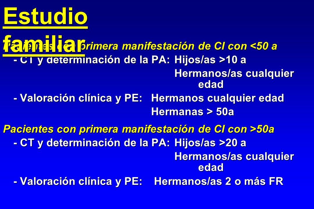 Pacientes con primera manifestación de CI con <50 a - CT y determinación de la PA:Hijos/as >10 a Hermanos/as cualquier edad - Valoración clínica y PE: