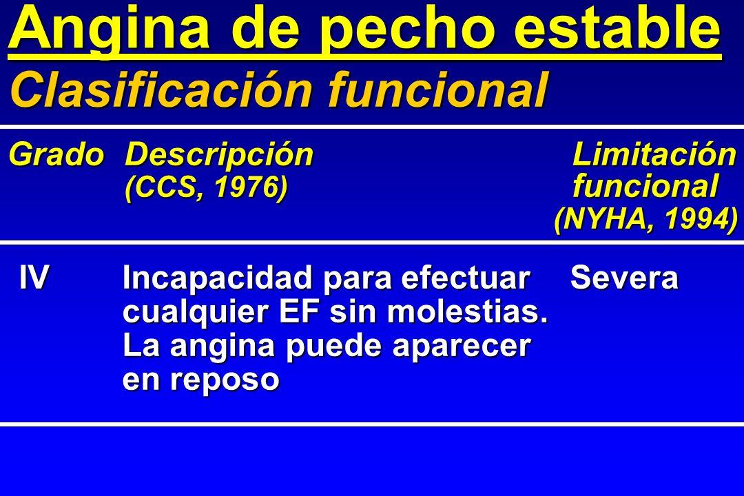 Angina de pecho estable IVIncapacidad para efectuarSevera cualquier EF sin molestias. La angina puede aparecer en reposo Clasificación funcional Grado