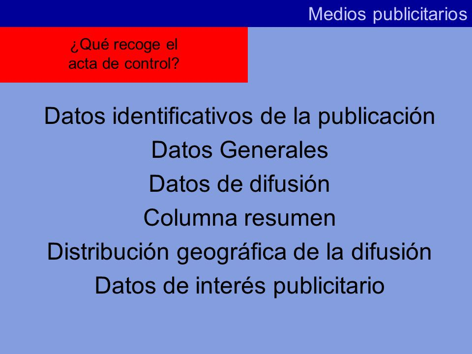 Sistema Medios publicitarios Acta de Control