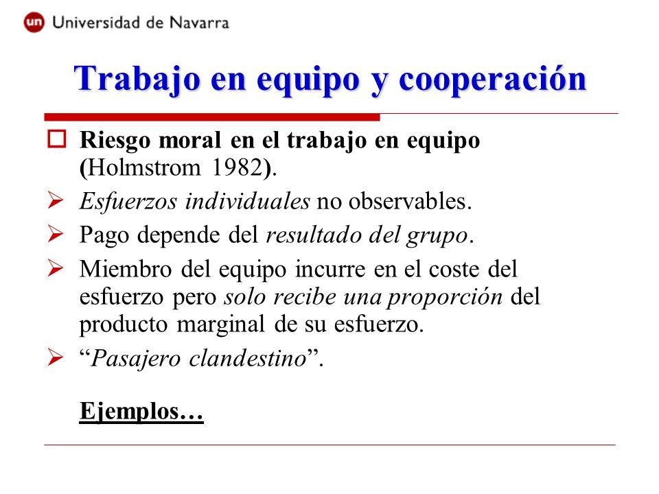 Trabajo en equipo y cooperación Riesgo moral en el trabajo en equipo (Holmstrom 1982).