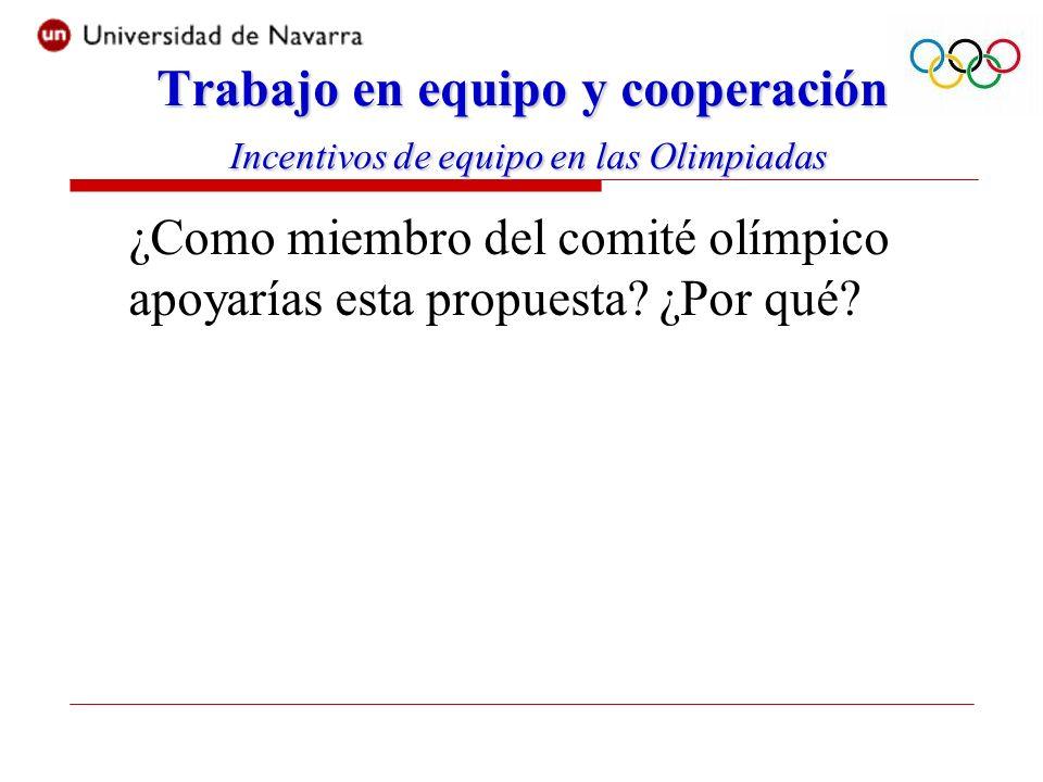 ¿Como miembro del comité olímpico apoyarías esta propuesta.
