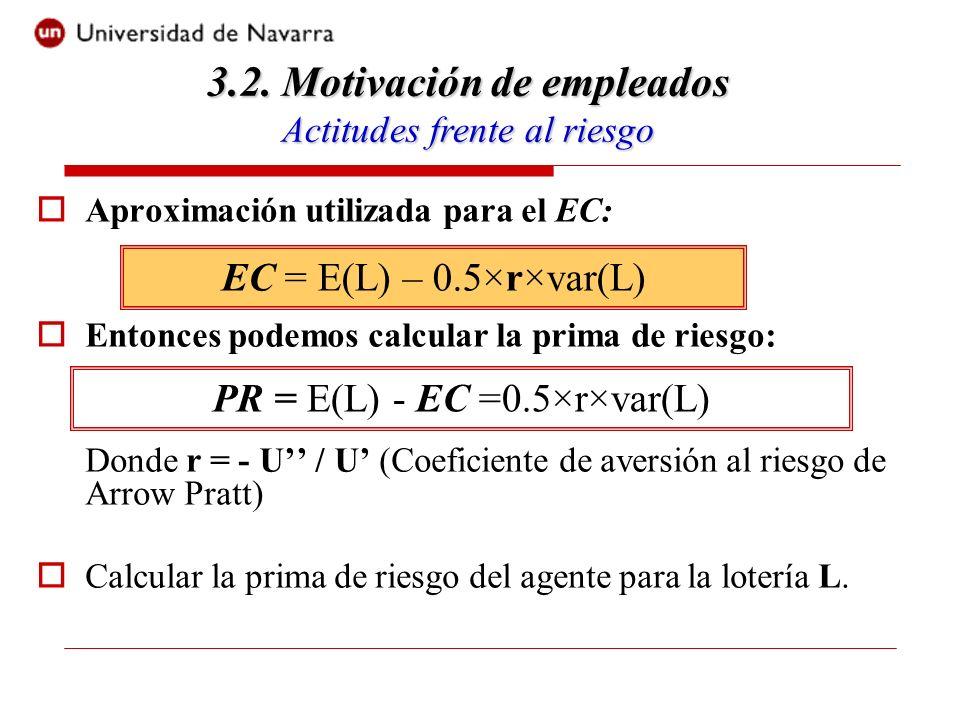 Aproximación utilizada para el EC: Entonces podemos calcular la prima de riesgo: Donde r = - U / U (Coeficiente de aversión al riesgo de Arrow Pratt) Calcular la prima de riesgo del agente para la lotería L.