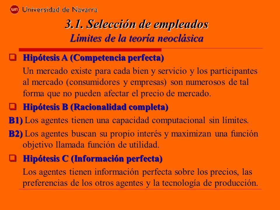 Hipótesis A (Competencia perfecta) Hipótesis A (Competencia perfecta) Un mercado existe para cada bien y servicio y los participantes al mercado (consumidores y empresas) son numerosos de tal forma que no pueden afectar el precio de mercado.