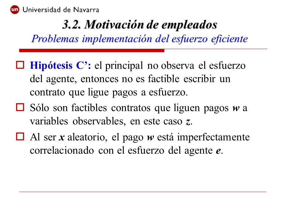 Hipótesis C: el principal no observa el esfuerzo del agente, entonces no es factible escribir un contrato que ligue pagos a esfuerzo.