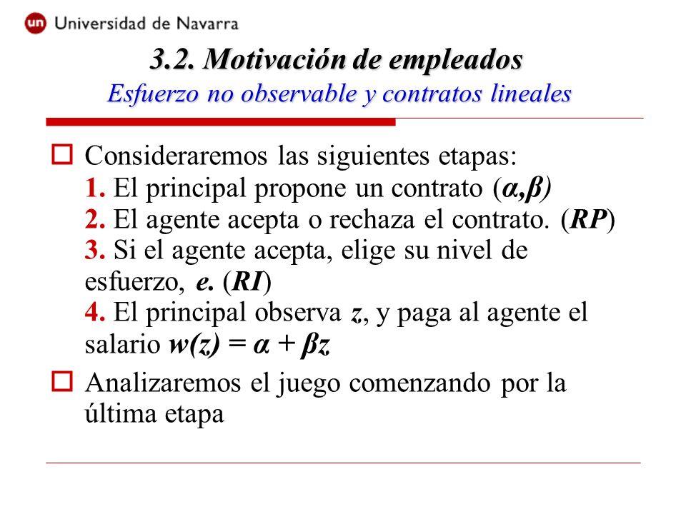 Consideraremos las siguientes etapas: 1. El principal propone un contrato ( α,β) 2.