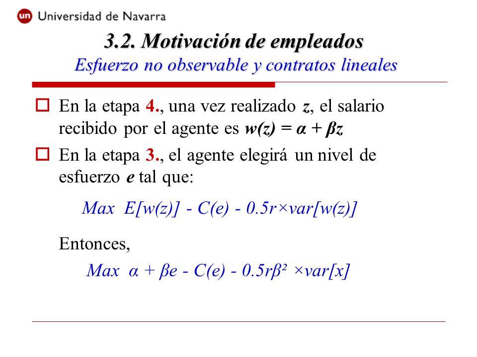 En la etapa 4., una vez realizado z, el salario recibido por el agente es w(z) = α + βz En la etapa 3., el agente elegirá un nivel de esfuerzo e tal que: Entonces, Max α + βe - C(e) - 0.5rβ² ×var[x] 3.2.