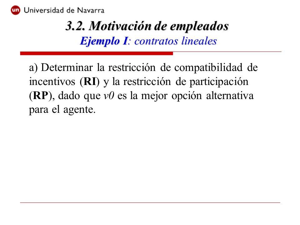 a) Determinar la restricción de compatibilidad de incentivos (RI) y la restricción de participación (RP), dado que v0 es la mejor opción alternativa para el agente.