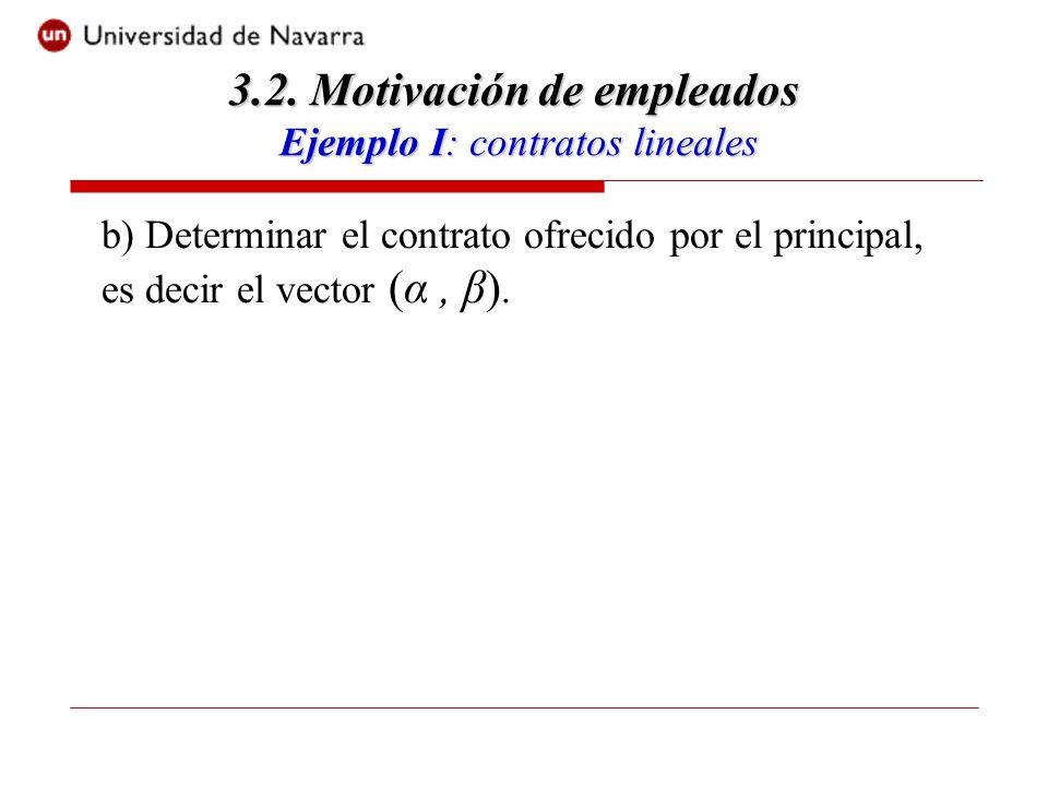 b) Determinar el contrato ofrecido por el principal, es decir el vector (α, β).