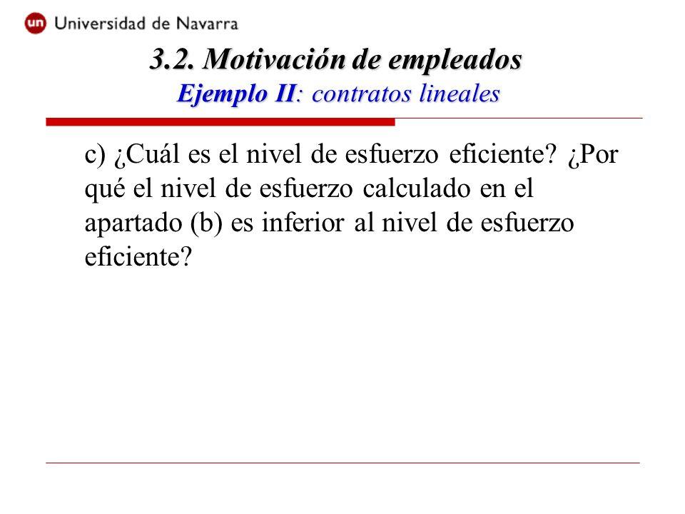 c) ¿Cuál es el nivel de esfuerzo eficiente.