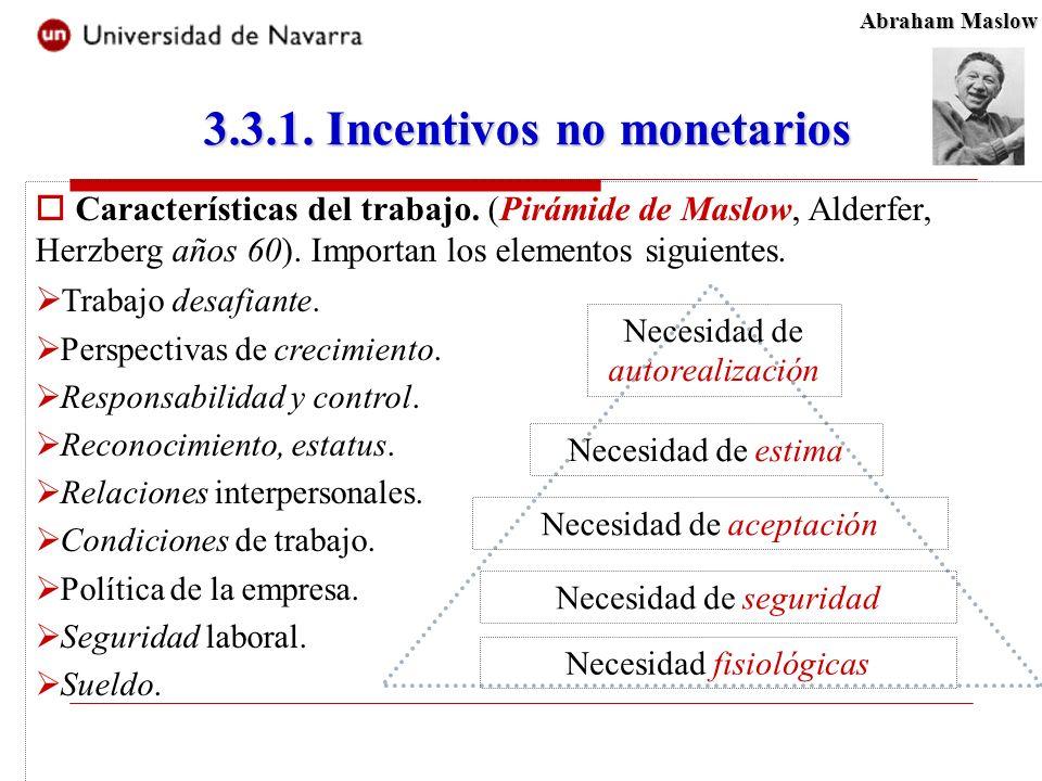 3.3.1. Incentivos no monetarios Características del trabajo.