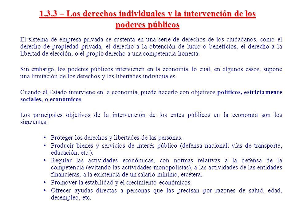 1.3.3 – Los derechos individuales y la intervención de los poderes públicos El sistema de empresa privada se sustenta en una serie de derechos de los