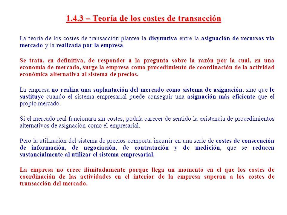 1.4.3 – Teoría de los costes de transacción La teoría de los costes de transacción plantea la disyuntiva entre la asignación de recursos vía mercado y