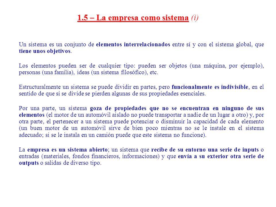 1.5 – La empresa como sistema 1.5 – La empresa como sistema (i) Un sistema es un conjunto de elementos interrelacionados entre sí y con el sistema glo