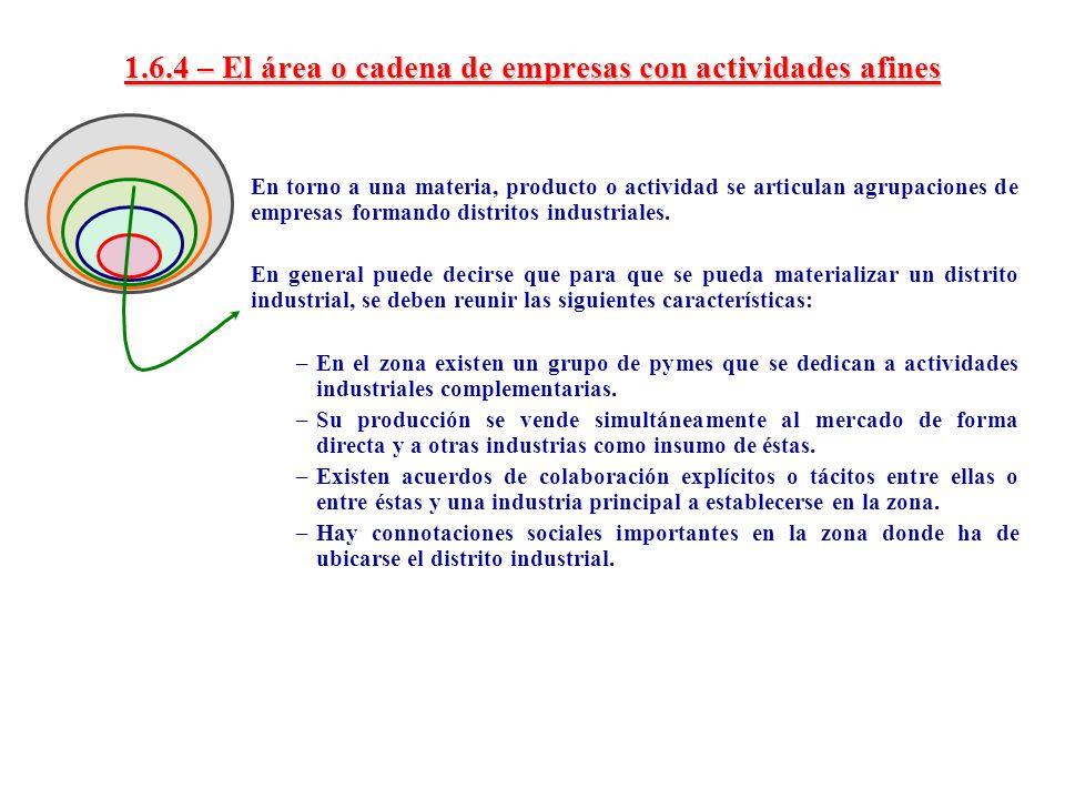 1.6.4 – El área o cadena de empresas con actividades afines En torno a una materia, producto o actividad se articulan agrupaciones de empresas formand