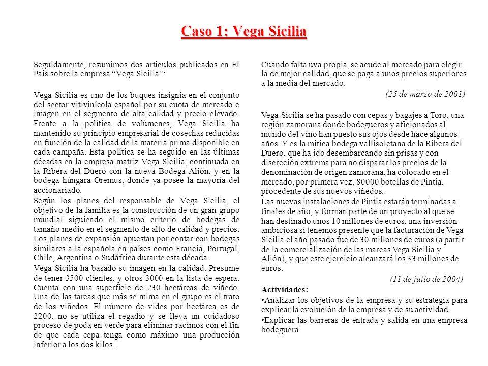 Caso 1: Vega Sicilia Seguidamente, resumimos dos artículos publicados en El País sobre la empresa Vega Sicilia: Vega Sicilia es uno de los buques insi
