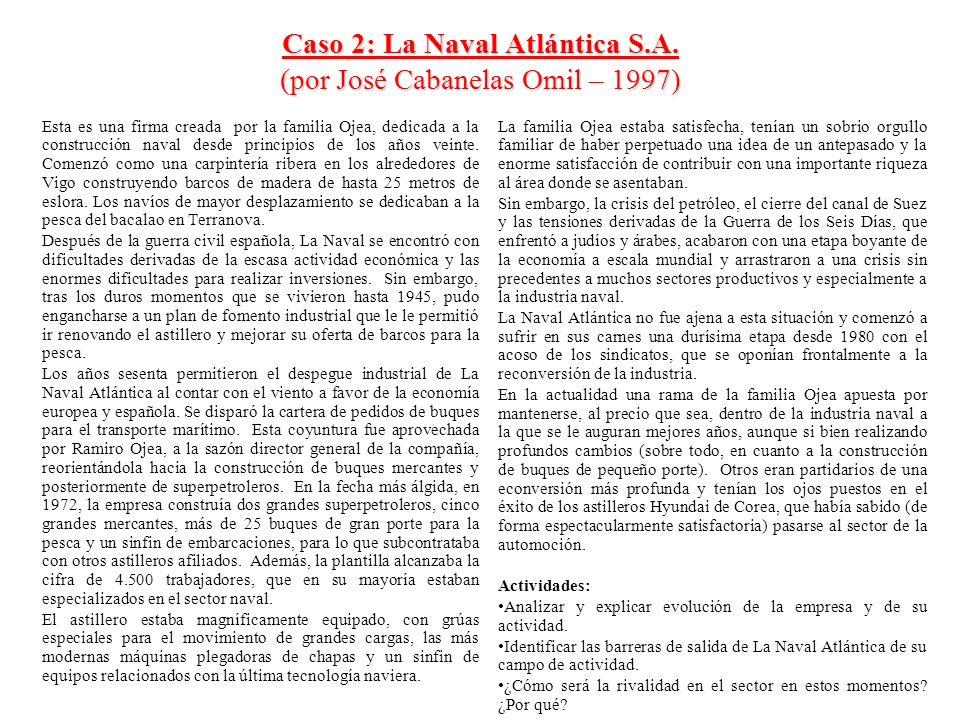 Caso 2: La Naval Atlántica S.A. (por José Cabanelas Omil – 1997) Esta es una firma creada por la familia Ojea, dedicada a la construcción naval desde